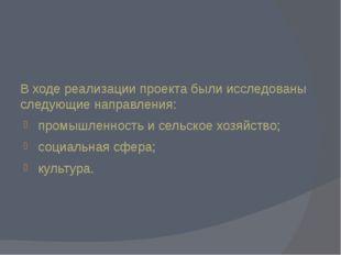 В ходе реализации проекта были исследованы следующие направления: промышленно