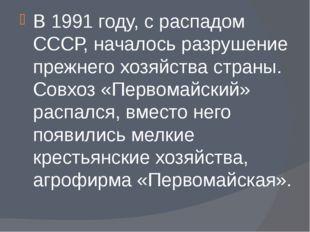 В 1991 году, с распадом СССР, началось разрушение прежнего хозяйства страны.