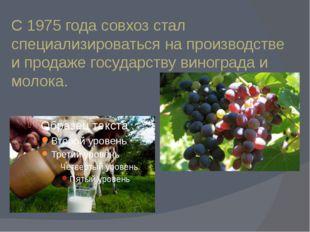 С 1975 года совхоз стал специализироваться на производстве и продаже государс