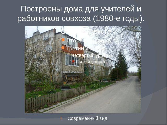 Построены дома для учителей и работников совхоза (1980-е годы). Современный вид
