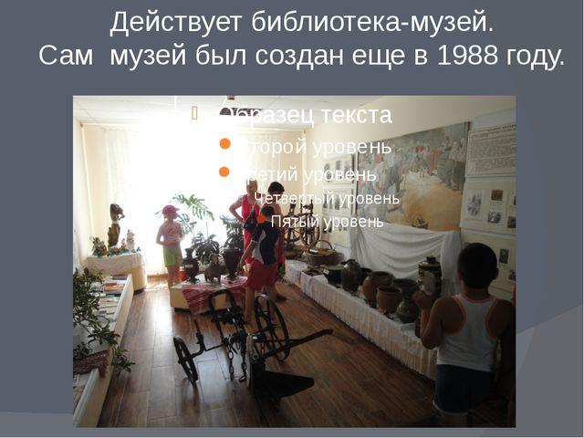 Действует библиотека-музей. Сам музей был создан еще в 1988 году.