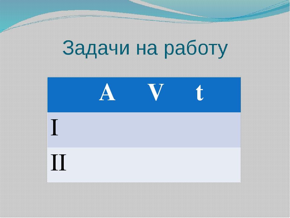 Задачи на работу A V t I II