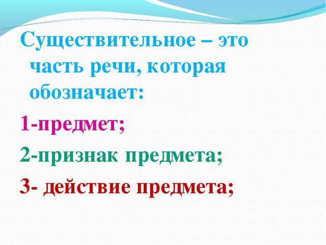 Существительное – это часть речи, которая обозначает: 1-предмет; 2-признак пр...