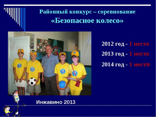 Районный конкурс – соревнование «Безопасное колесо» 2012 год - 1 место 2013 г...