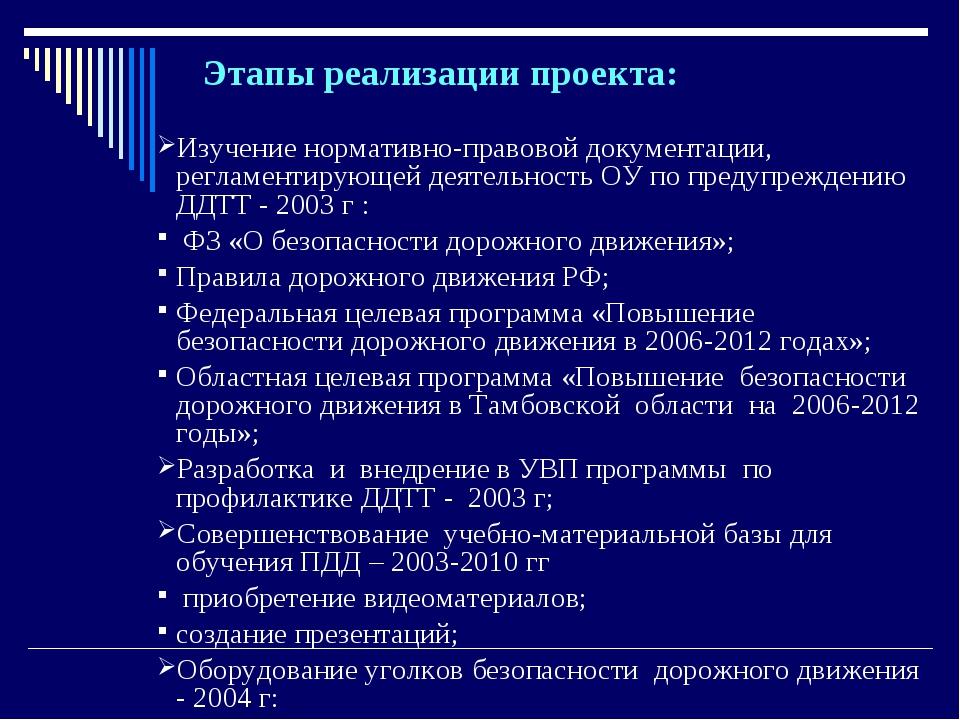 Этапы реализации проекта: Изучение нормативно-правовой документации, регламен...