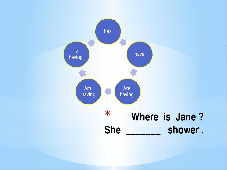 Where is Jane ? She _______ shower .