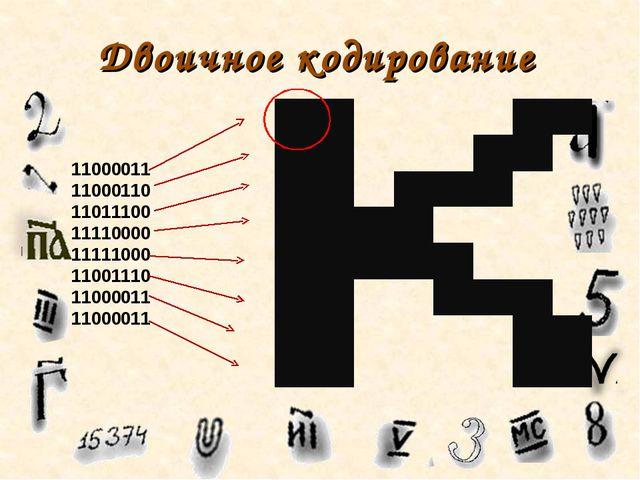 Двоичное кодирование 11000011 11000110 11011100 11110000 11111000 11001110 11...