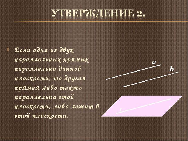 Если одна из двух параллельных прямых параллельна данной плоскости, то другая...