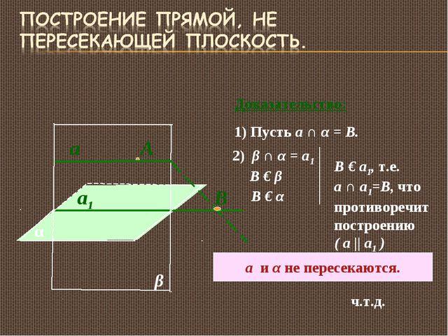 α а1 А β а Доказательство: 1) Пусть а ∩ α = B. В 2) β ∩ α = а1 В € β В € α В...