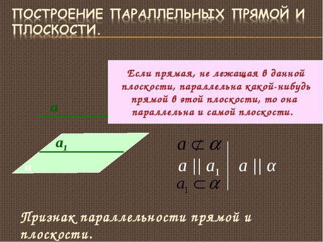 а1 а α а || а1 а || α Признак параллельности прямой и плоскости. Если прямая,...