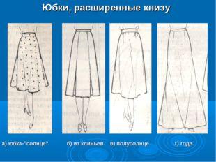 """Юбки, расширенные книзу а) юбка-""""солнце"""" б) из клиньев в) полусолнце г) г"""