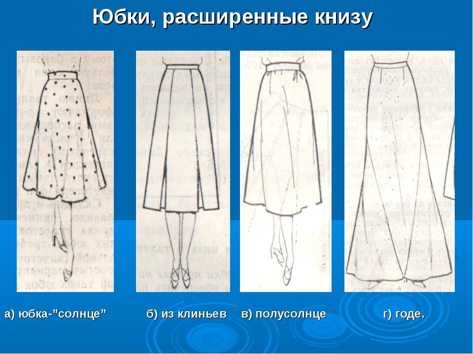 """Юбки, расширенные книзу а) юбка-""""солнце"""" б) из клиньев в) полусолнце г) г..."""