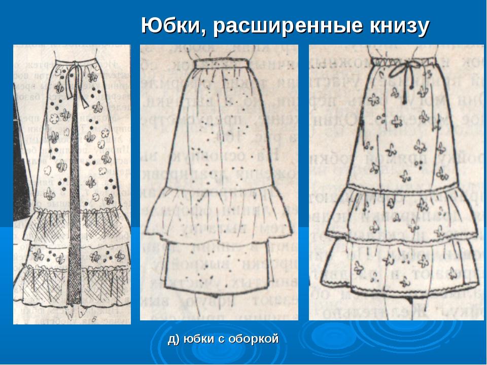 Юбки, расширенные книзу д) юбки с оборкой