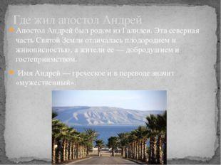 Апостол Андрей был родом из Галилеи. Эта северная часть Святой Земли отличала