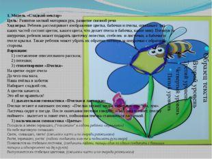 1. Модель «Сладкий нектар» Цель: Развитие мелкой моторики рук, развитие связн