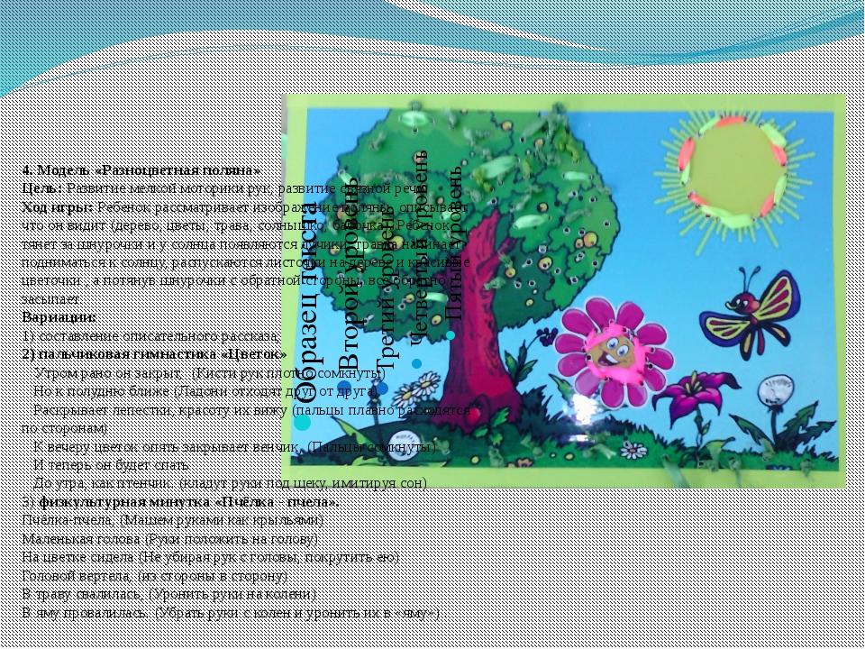 4. Модель «Разноцветная поляна» Цель: Развитие мелкой моторики рук, развитие...
