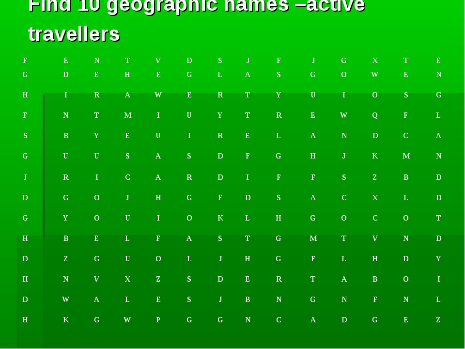 Find 10 geographic names –active travellers F	E	N	T	V	D	S	J	F	J	G	X	T	E G	D	E...