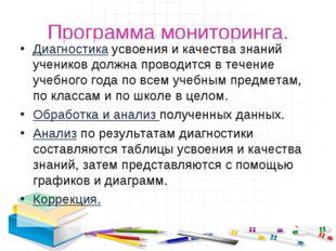 Программа мониторинга. Диагностика усвоения и качества знаний учеников должна