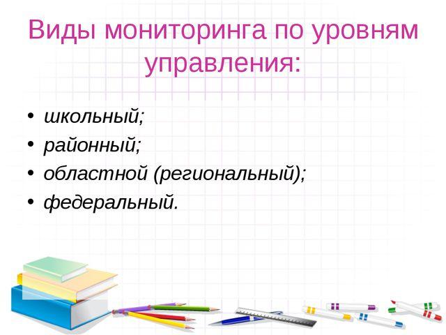 Виды мониторинга по уровням управления: школьный; районный; областной (регион...