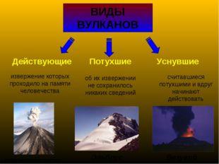 ВИДЫ ВУЛКАНОВ Действующие Потухшие Уснувшие извержение которых проходило на п