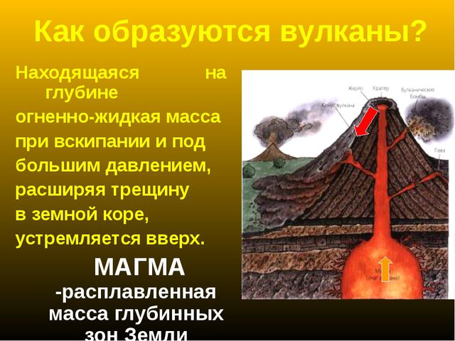 Как образуются вулканы? Находящаяся на глубине огненно-жидкая масса при вскип...