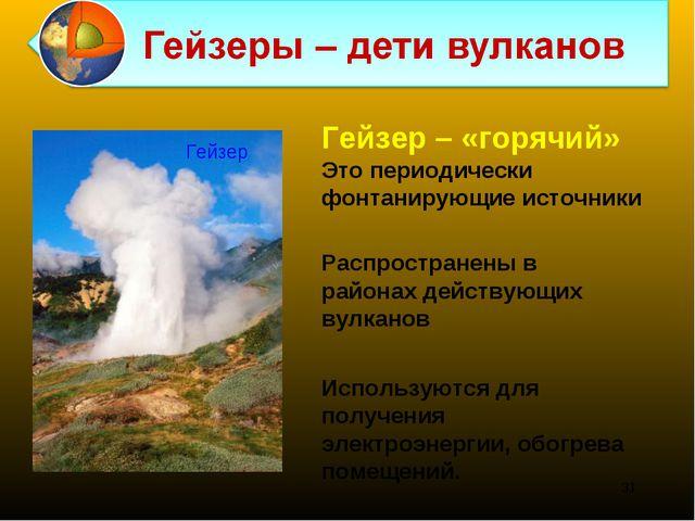 Распространены в районах действующих вулканов Гейзер – «горячий» Это периодич...