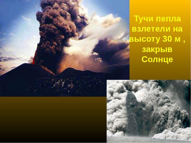 Тучи пепла взлетели на высоту 30 м , закрыв Солнце
