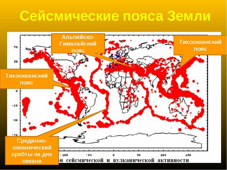 Сейсмические пояса Земли Тихоокеанский пояс Тихоокеанский пояс Альпийско-Гима...