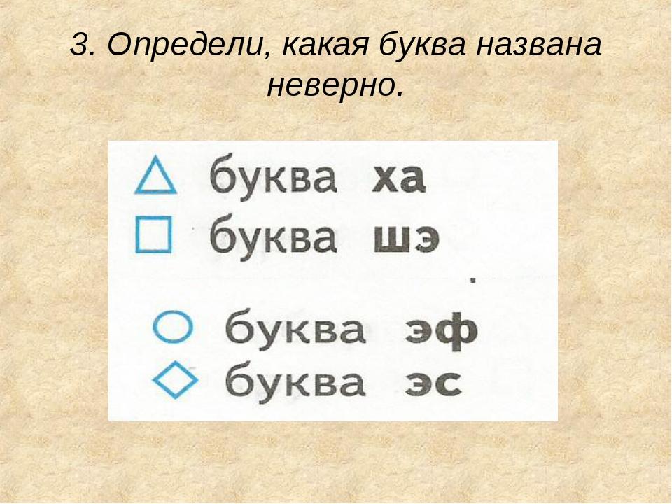 3. Определи, какая буква названа неверно.