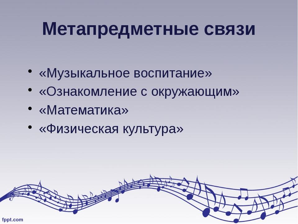Метапредметные связи «Музыкальное воспитание» «Ознакомление с окружающим» «Ма...