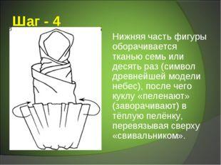 Шаг - 4 Нижняя часть фигуры оборачивается тканью семь или десять раз (символ