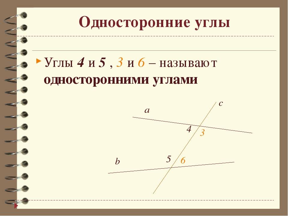 Односторонние углы Углы 4 и 5 , 3 и 6 – называют односторонними углами  a с...