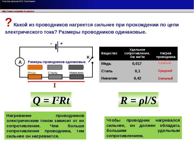 А Медь Сталь Никелин - + Нагревание проводников электрическим током зависит о...