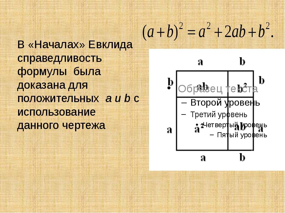 В «Началах» Евклида справедливость формулы была доказана для положительных a...