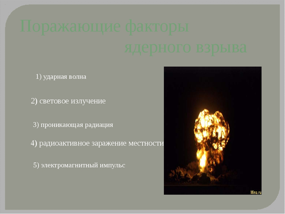 Поражающие факторы ядерного взрыва 1) ударная волна 2) световое излучение 4)...