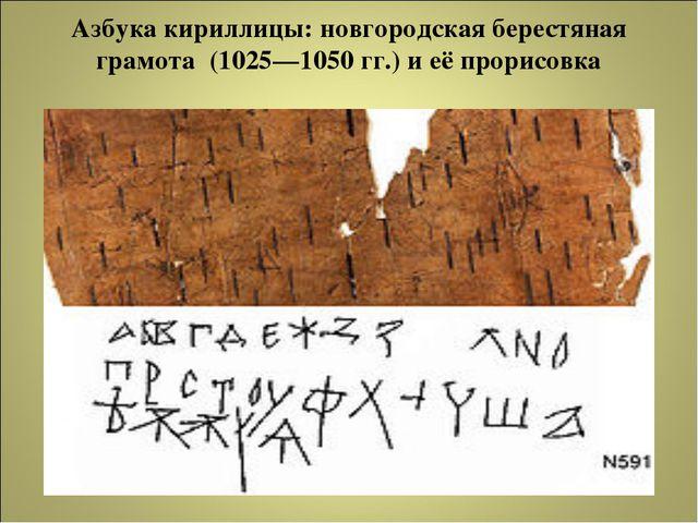 Азбука кириллицы: новгородская берестяная грамота (1025—1050гг.) и её прорис...