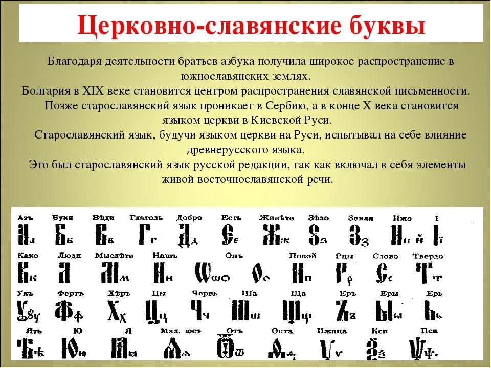 Церковно-славянские буквы Благодаря деятельности братьев азбука получила широ...