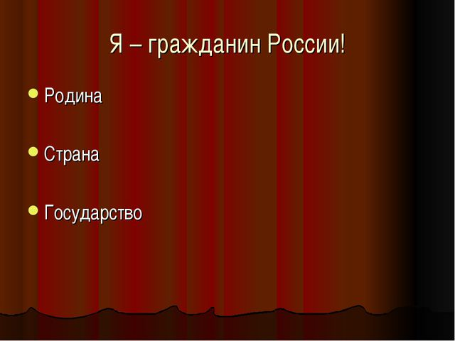 Я – гражданин России! Родина Страна Государство