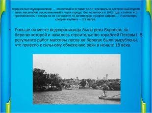 Воронежское водохранилище — это первый в истории СССР специально построенный