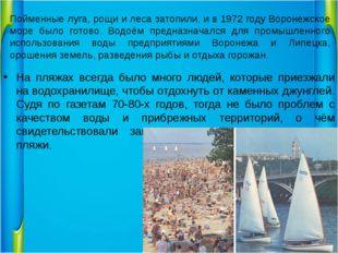 Пойменные луга, рощи и леса затопили, и в 1972 году Воронежское море было гот