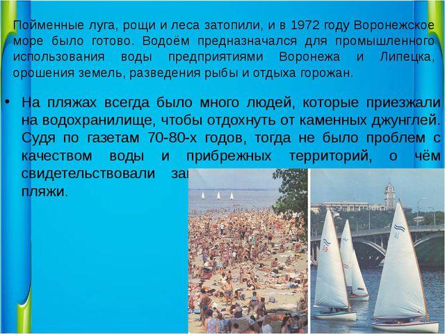 Пойменные луга, рощи и леса затопили, и в 1972 году Воронежское море было гот...