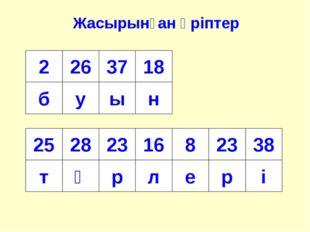 Жасырынған әріптер 2 б 26 у 37 ы 18 н 25 т 28 ү 23 р 16 л 8 е 23 р 38 і
