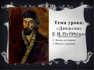Тема урока: «Движение Е.И.Пугачёва» План: Причины восстания 2. Этапы восстани