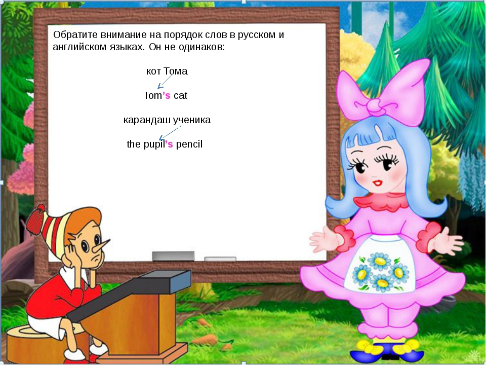 Обратите внимание на порядок слов в русском и английском языках. Он не одинак...