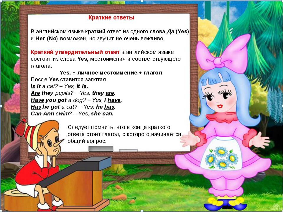 Краткие ответы В английском языке краткий ответ из одного слова Да (Yes) и Н...