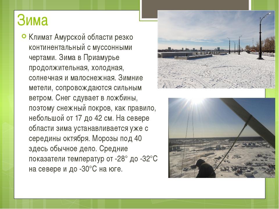 Зима Климат Амурской области резко континентальный с муссонными чертами. Зима...