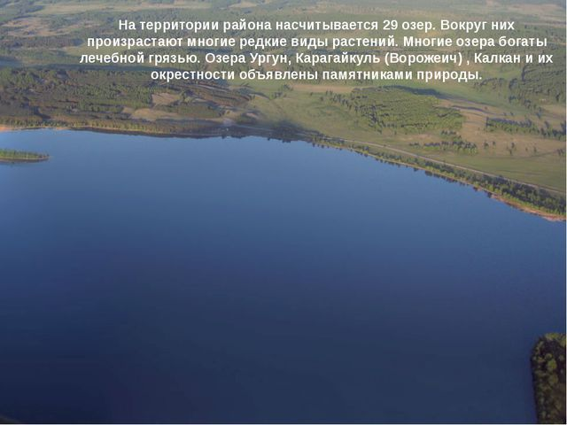 На территории района насчитывается 29 озер. Вокруг них произрастают многие ре...