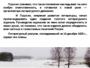 Пушкин сознавал, что такое положение накладывает на него особую ответственно