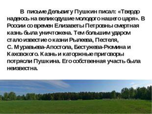 В письме Дельвигу Пушкин писал: «Твердо надеюсь на великодушие молодого наше