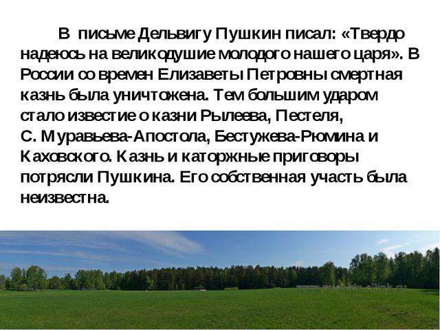 В письме Дельвигу Пушкин писал: «Твердо надеюсь на великодушие молодого наше...